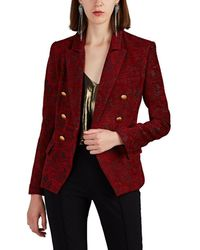 L'Agence Kenzie Floral-jacquard Double-breasted Blazer - Red