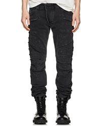 Balmain - Distressed Skinny Biker Jeans - Lyst
