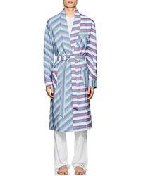 Barneys New York - Striped Cotton Poplin Robe - Lyst
