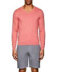 Piattelli - Fine-knit Cotton-blend V-neck Sweater - Lyst