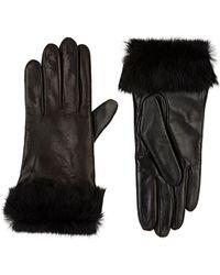 Barneys New York - Fur-cuff Tech-smart Leather Gloves - Lyst