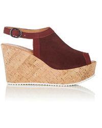 Barneys New York - Suede Platform Wedge Sandals - Lyst