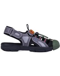 69f6d3e0370b Lyst - Gucci Leather Sandal With Bee in Black for Men