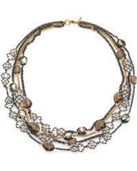 Alexis Bittar Elements Muse D'Ore Smoky Quartz, Pyrite & Crystal Spur Lace Multi-Strand Necklace - Lyst