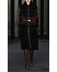 J. Mendel Colorblocked Mink Coat With Turn Closure Placket - Lyst