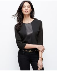 Ann Taylor Faux Leather Paneled Top - Lyst