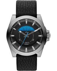 Diesel Mens Arges Black Leather Strap Watch 50x46mm - Lyst