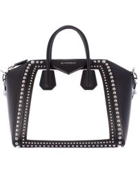 Givenchy Grain White And Black Leather Antigona Medium Bag With Studs - Lyst