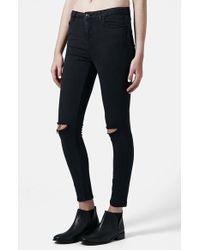 Topshop Women'S Moto 'Jamie' Dark Wash Ripped Slim Jeans - Lyst