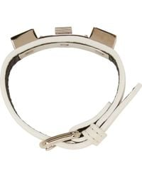 Proenza Schouler White Leather and Silver Ps11 Bracelet - Lyst
