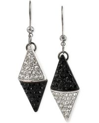 Steve Madden Two-tone Crystal Pavé Triangle Drop Earrings - Lyst