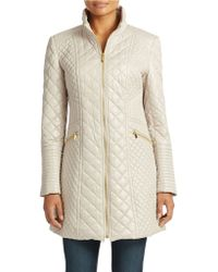 Via Spiga Diamond Quilted Hooded Coat - Lyst