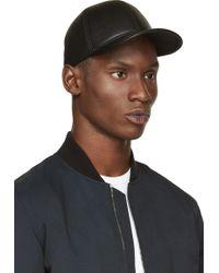 Neil Barrett Black Leather Baseball Cap - Lyst