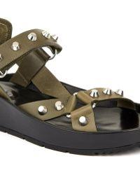Balenciaga Arena Stud Leather Platform Sandals - Lyst