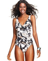 INC International Concepts - Floralprint Crisscross Onepiece Swimsuit - Lyst