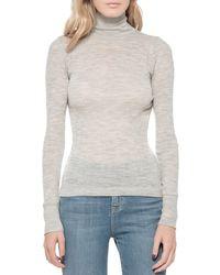 T By Alexander Wang Sheer Turtleneck Sweater gray - Lyst