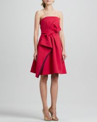 Halston Heritage Strapless Colorblock Bow Dress - Lyst