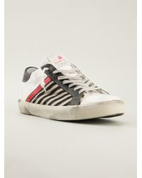 Leather Crown Striped Panel Sneakers - Lyst