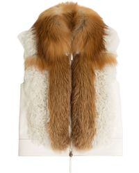Roberto Cavalli Leather Vest With Shearling And Fox Fur - Lyst