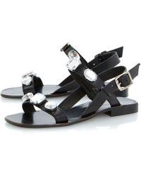 Dune Black Libbi Leather Double Strap Jewel Sandals - Lyst