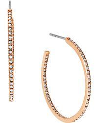 Michael Kors Glitz Rose Goldtone Small Hoop Earrings - 1 In. pink - Lyst