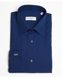 Saint Laurent True Blue Cotton Point Collar Dress Shirt - Lyst
