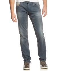 Guess Slim Straight Grey Dawn Wash Jeans - Lyst