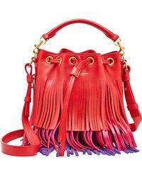 Saint Laurent - Emmanuelle Tri-Colored Fringe Bucket Bag - Lyst
