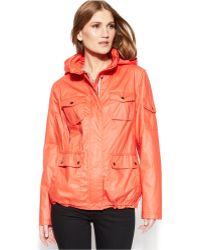 Vince Camuto Hooded Coated-Cotton Utility Jacket - Lyst