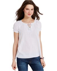 Tommy Hilfiger Embroidered Gauze Tie-Neck Peasant Top white - Lyst