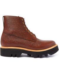 Foot The Coacher - Dark Brown Gideon Commando Lace Up Boot - Lyst