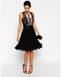 Coast - Damaris Dress With Pleated Skirt And Scallop Lace Detail - Lyst