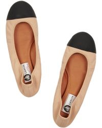 Lanvin Two-tone Leather Ballet Flats - Lyst