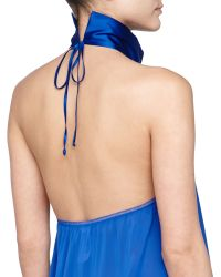 La Perla Niloufer Halter Embroidered Babydoll Thong Set Blue - Lyst