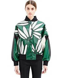 Marni Womens Printed Leather Bomber Jacket - Lyst
