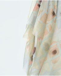 Zara White Printed Scarf - Lyst