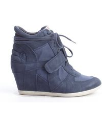 Ash Navy Suede and Canvas Lace Up Wedge Heel Sneakers - Lyst