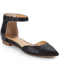 DV by Dolce Vita Gavy Embossed Leather Ankle-Strap Flats - Lyst