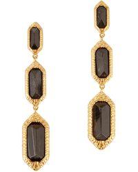 Isharya - 18Kt Gold Plated Obsidian Drop Earrings - Lyst
