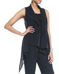 Eileen Fisher Crepe  Sheer Silk Vest - Lyst