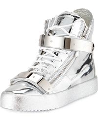 Giuseppe Zanotti Metallic Leather High-top Sneaker - Lyst