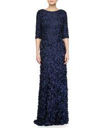 Theia Half-Sleeve Scoop-Back Petal Gown - Lyst