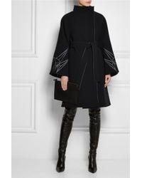 Gareth Pugh Embroidered Bonded Crepe Coat black - Lyst