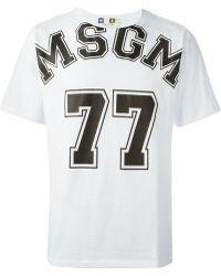 MSGM 77 Print T-Shirt - Lyst
