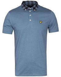 Lyle & Scott - Mist Blue Woven Collar Polo Shirt - Lyst