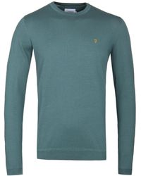 Farah - Stephens Long Sleeve Sea Green Knitted Sweater - Lyst