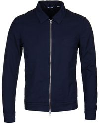 Gant Rugger Evening Blue Zip Up Textured Shirt Jacket