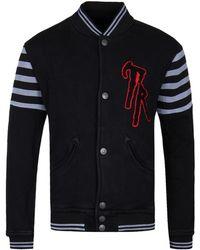 True Religion - Black Cotton Collegiate Knit Varsity Jacket - Lyst
