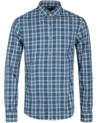 Michael Kors - Madras Admiral Blue Checked Long Sleeve Shirt - Lyst