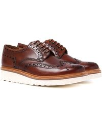 Grenson - Archie V Hand Painted Tan Leather Brogues - Lyst